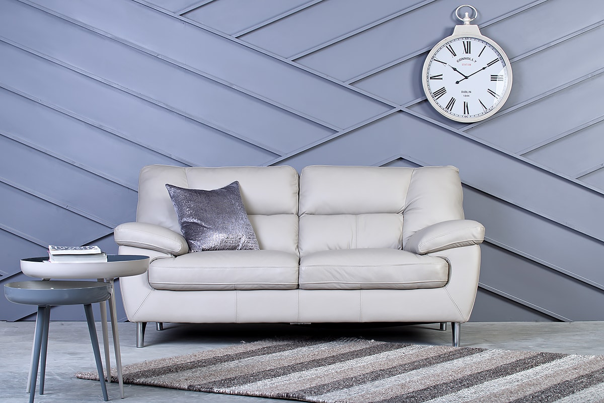 Wooden Leg Sofas Like The Retro Grey 2 Seater Help To Increase The  Impression Of Space In Smaller Living Rooms.