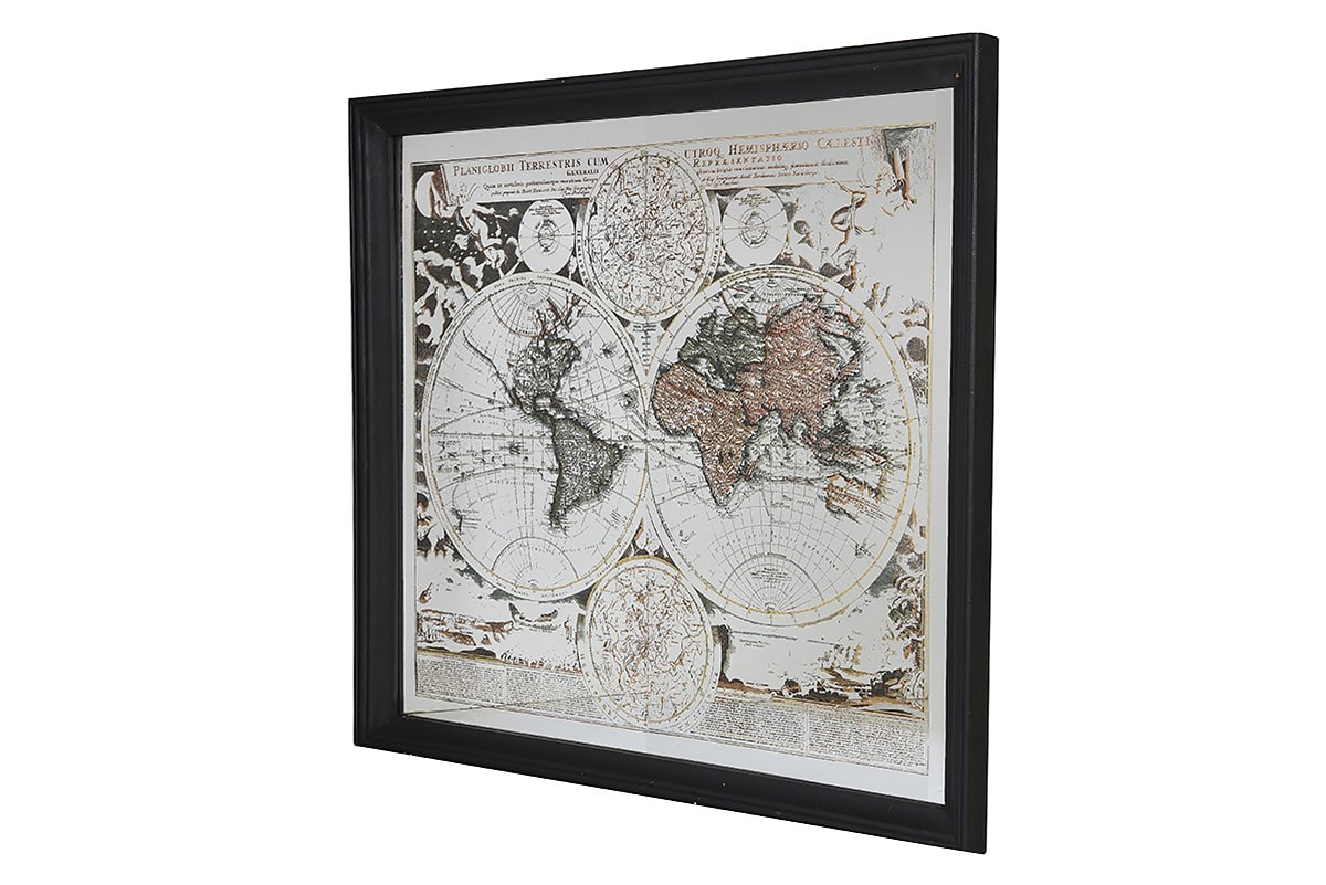 Mirrored Map Of The World.Ch Mirrored World Map Picture Egn146 Michael Murphy Home Furnishing